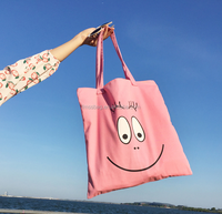 China Manufacture Cotton canvas Pink tote bag with printed logo
