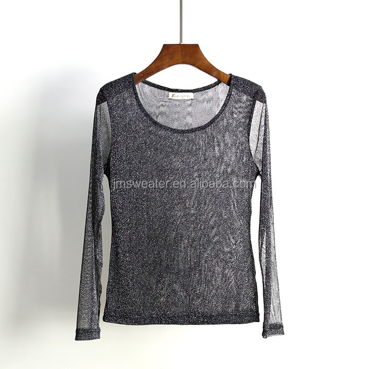 Sexy summer transparent knitwear on sale women gold metal yarn pullover thin knitting wear for summer