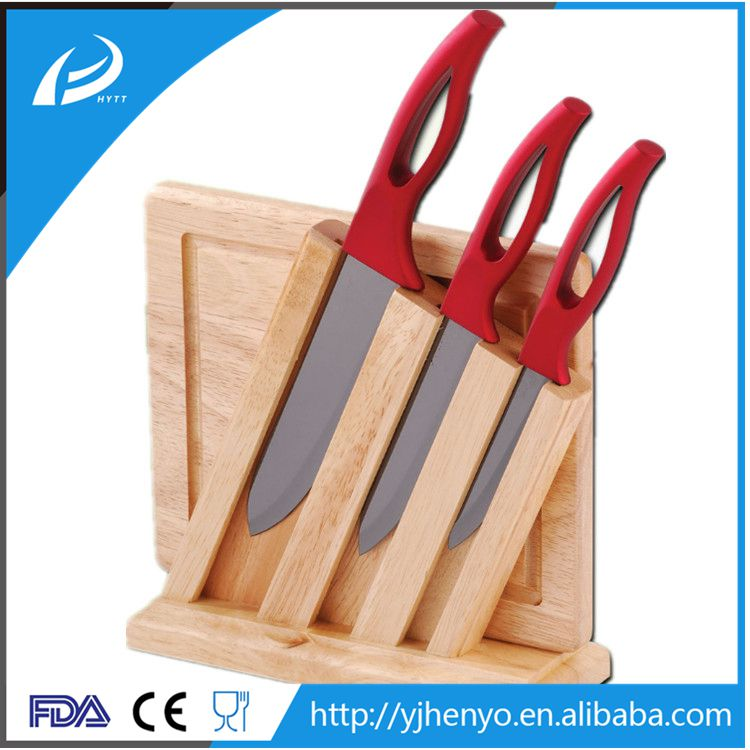 Environmental friendly ceramic knife set with wood cutting board in wood display block
