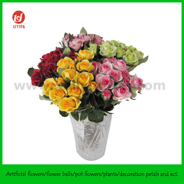 Colorful Artificial Mini Rose Bunch,Mini Artificial Silk Flowers