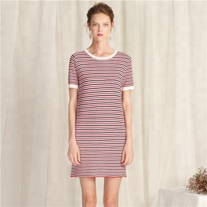 Women's sexy tight striped dress short sleeved sweater pullover