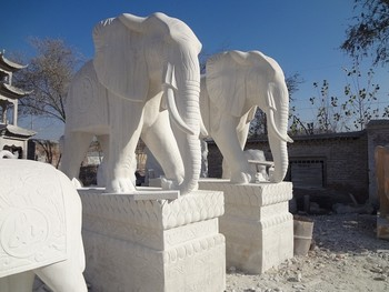 Bon Outdoor Garden Statue Africa Large White Marble Stone Elephant Marble  Sculpture