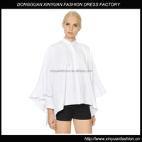 New Style Girls Pure White Cloak Blouses,Long Sleeve Blank Plain Cloak blouses for Women