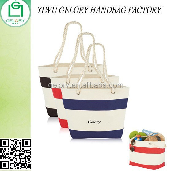Color Stripes Cotton Wholesale Shopper Tote Bags grommet rope handle shopping bag