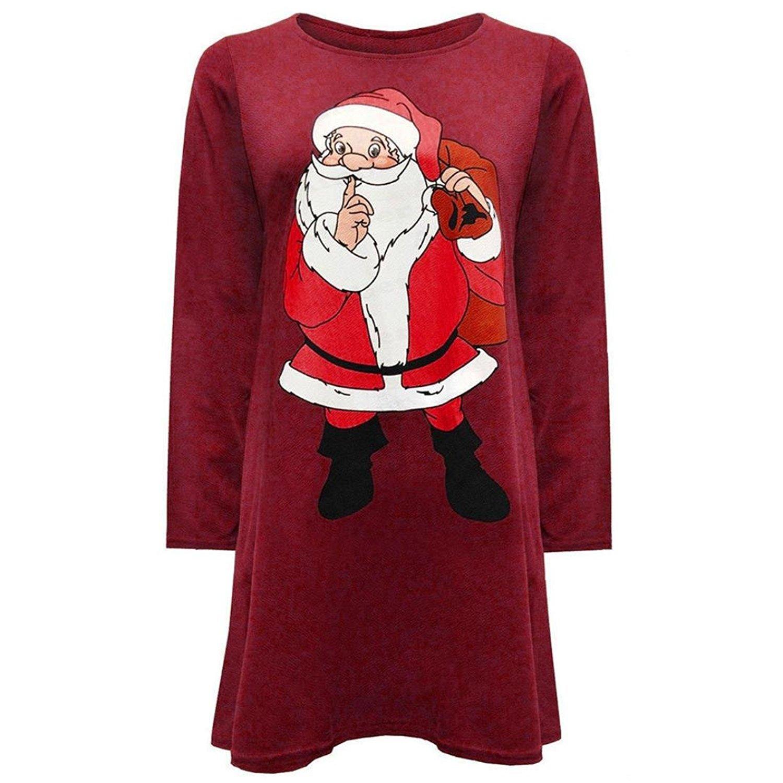db55f43b20b Get Quotations · FAPIZI ♥ Women Dress ♥ Women Sexy Round Collar Fashion Santa  Claus Long Sleeve Dress