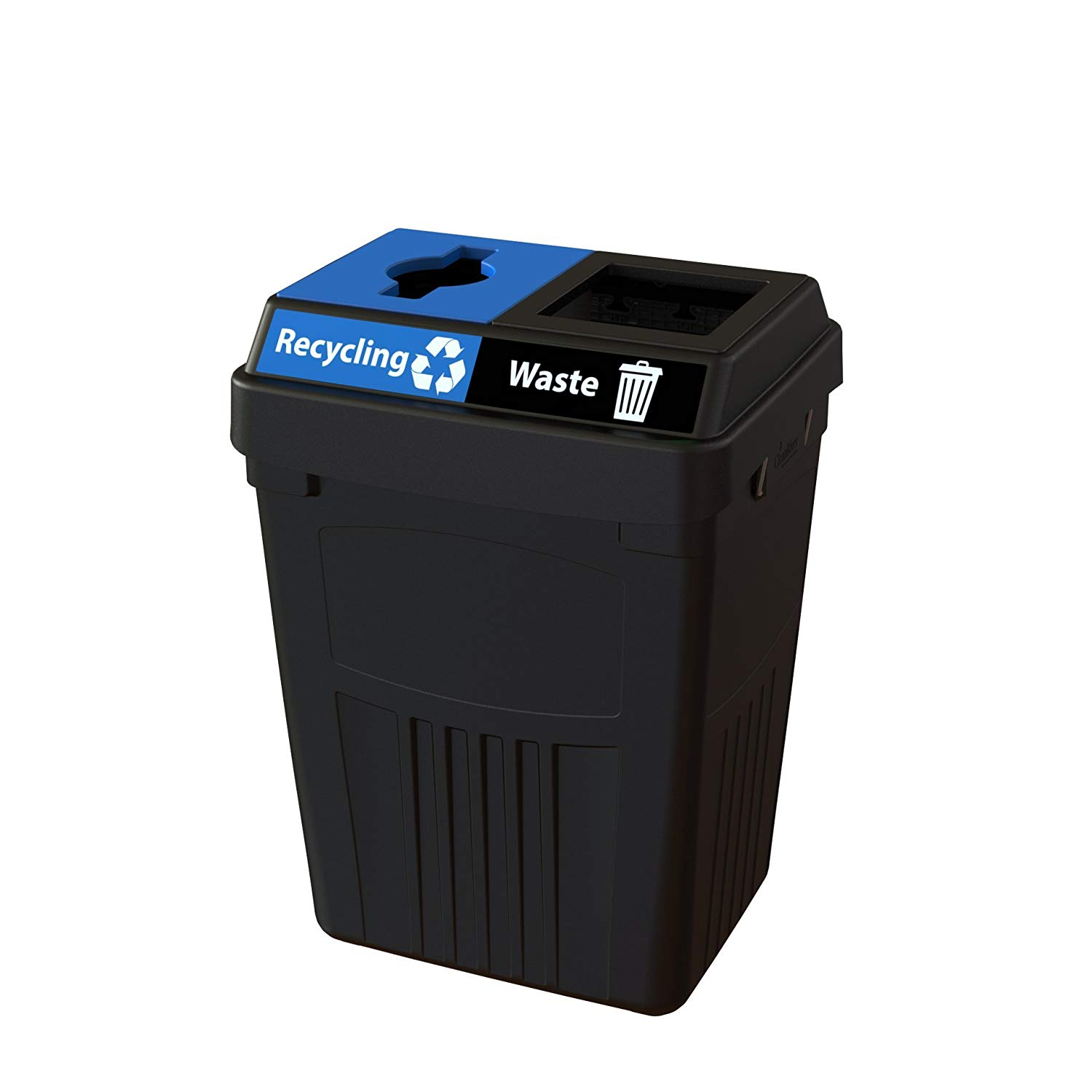 CleanRiver Flex E bin. Indoor and outdoor sturdy 2-in-1 waste and recycling bin. Collect 2 separate waste streams in one bin. 50-gallon-Black (FX50A-BK2-R-W)
