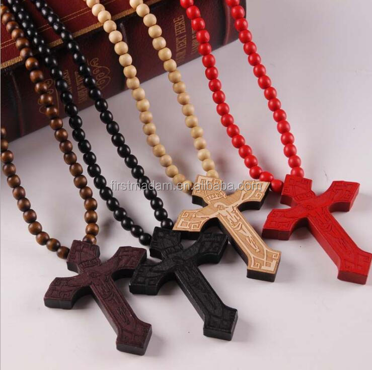 Wholesale Custom Jewelry Natural Wooden Cross Pendant Fancy Designs for Girls