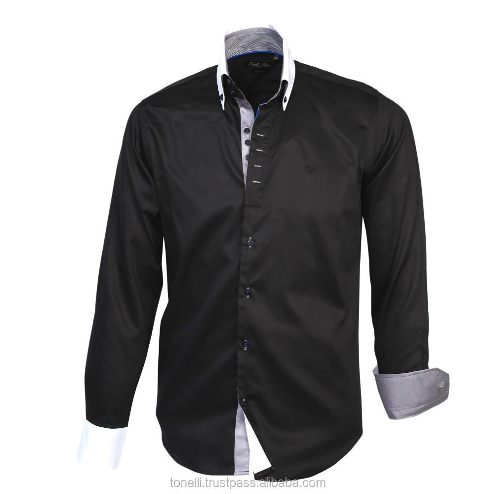Slim fit black dress shirts