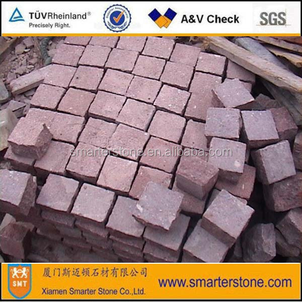 Cube Stone Red Porphyry Paving Stone