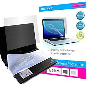 (Media Cover Market)Silicon keyboard cover and a set of Screen Protector to block the blue light for 12.5 inch monitor[16:9] models