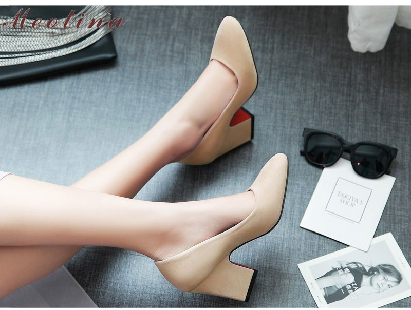 e0402f01c1f ... Design Women Pumps High Heels Plus Size 34-43 Square Toe Lady Work Shoes  Thick High HeelsBlue. a8--9 03 (1) 04 (1) 06 ...