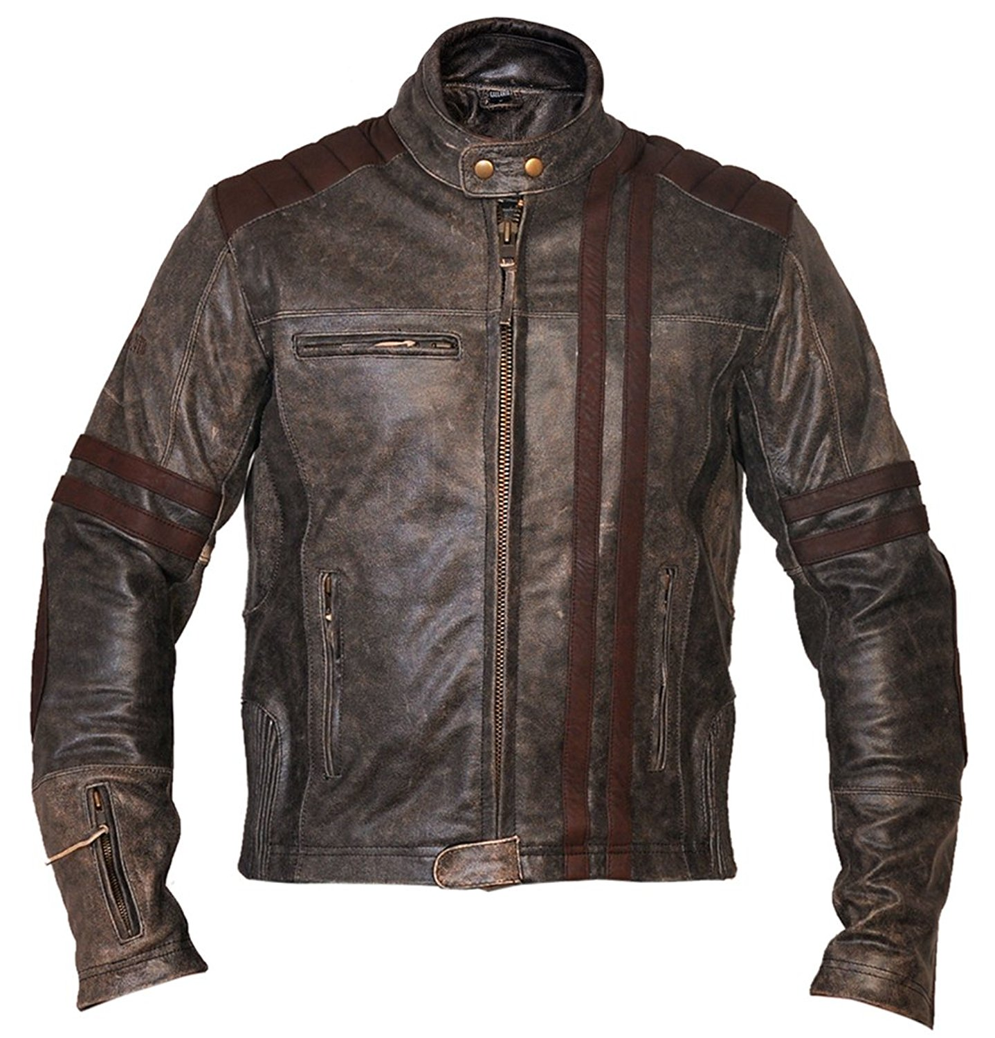 5e0a8b118450 Get Quotations · Thrix Leather Men s Biker Vintage Motorcycle Cafe Racer  Style Distressed Leather Jacket