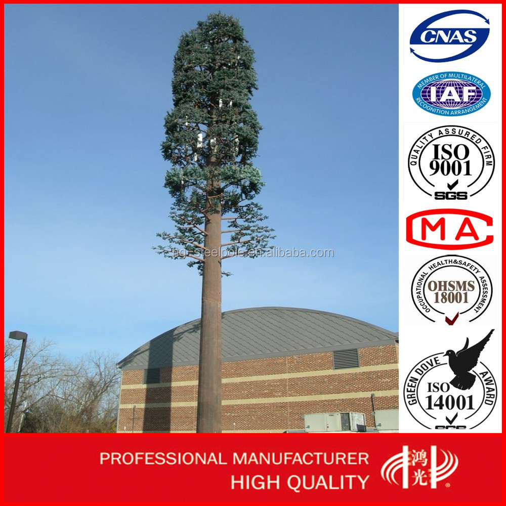 Disguised Pine Tree Galvanized GSM CommunicationTower,Self- support Monopole Tower
