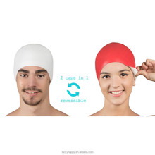 Hot sales Reversible Sport cap waterproof silicone swimming caps for adult long hair