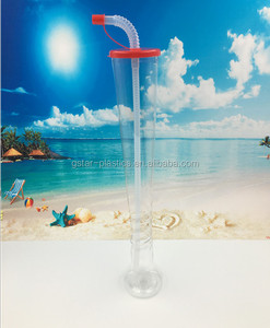 600ml 20oz PET material Plastic Yard Cup with Straw for Bubble Tea, Boba Tea Straw Cup for Suction