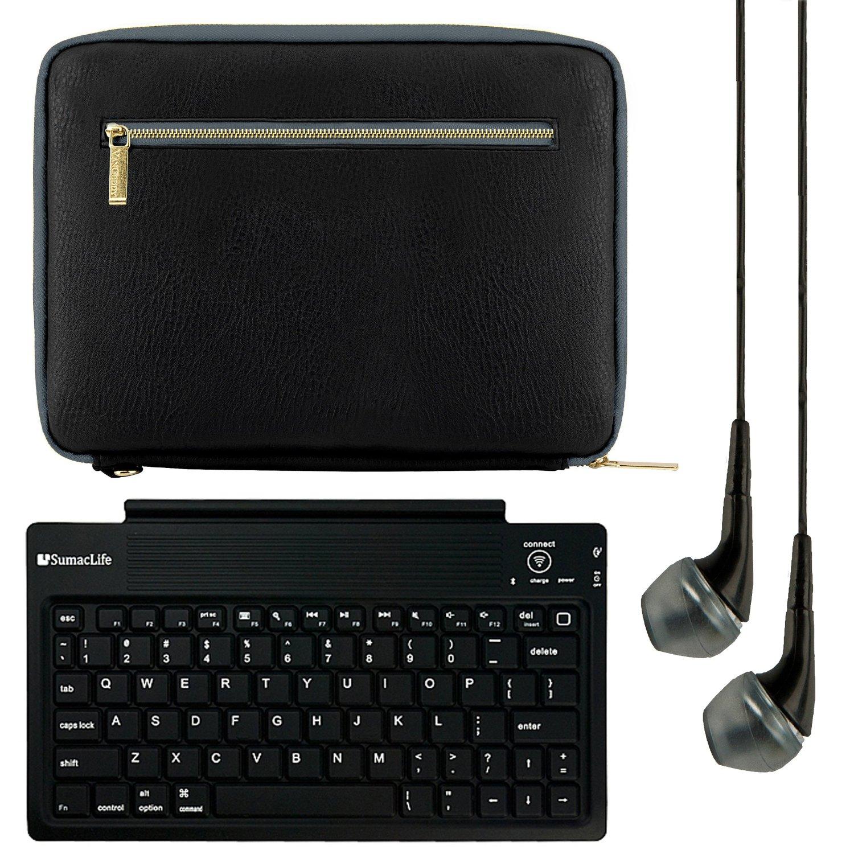 VanGoddy Irista Carrying Sleeve for Visual Land Prestige 7 to 8 inch Tablets with Bluetooth Keyboard & Black Headphones, Black & Grey