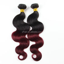 2016 New Fashion 100% Brazilian Virgin Human Hair Extension #1b/ Wine Hair Weaving Body Wave Ombre Color 99j