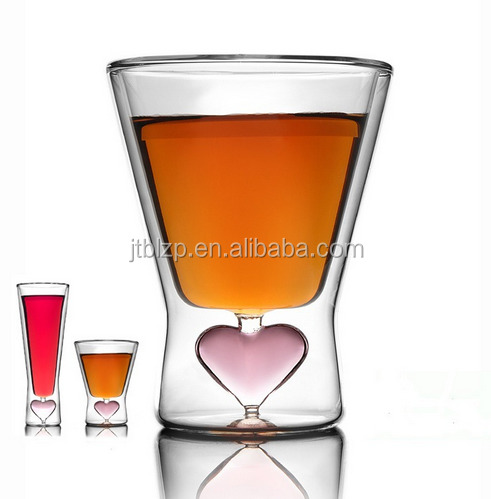 2015 new products High Borosilicate Double Wall Glass Cup Love Heart Shaped Tea Cup