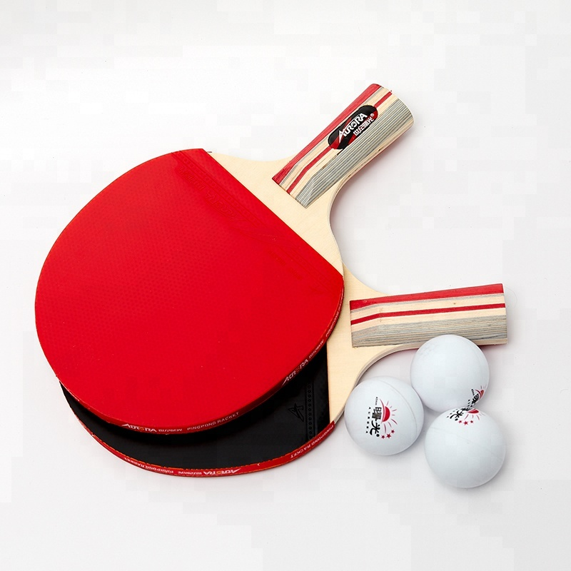 Hot sales custom tafeltennis bat en ballen ping pong racket set