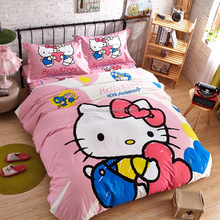 high quality lovely pink girls bed sheet twin cat print bedding set children