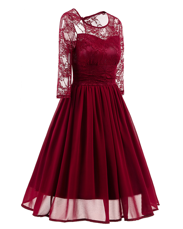 Explosive occident half sleeve ball gown solid color lace stitching vintage chiffon women dresses party wear