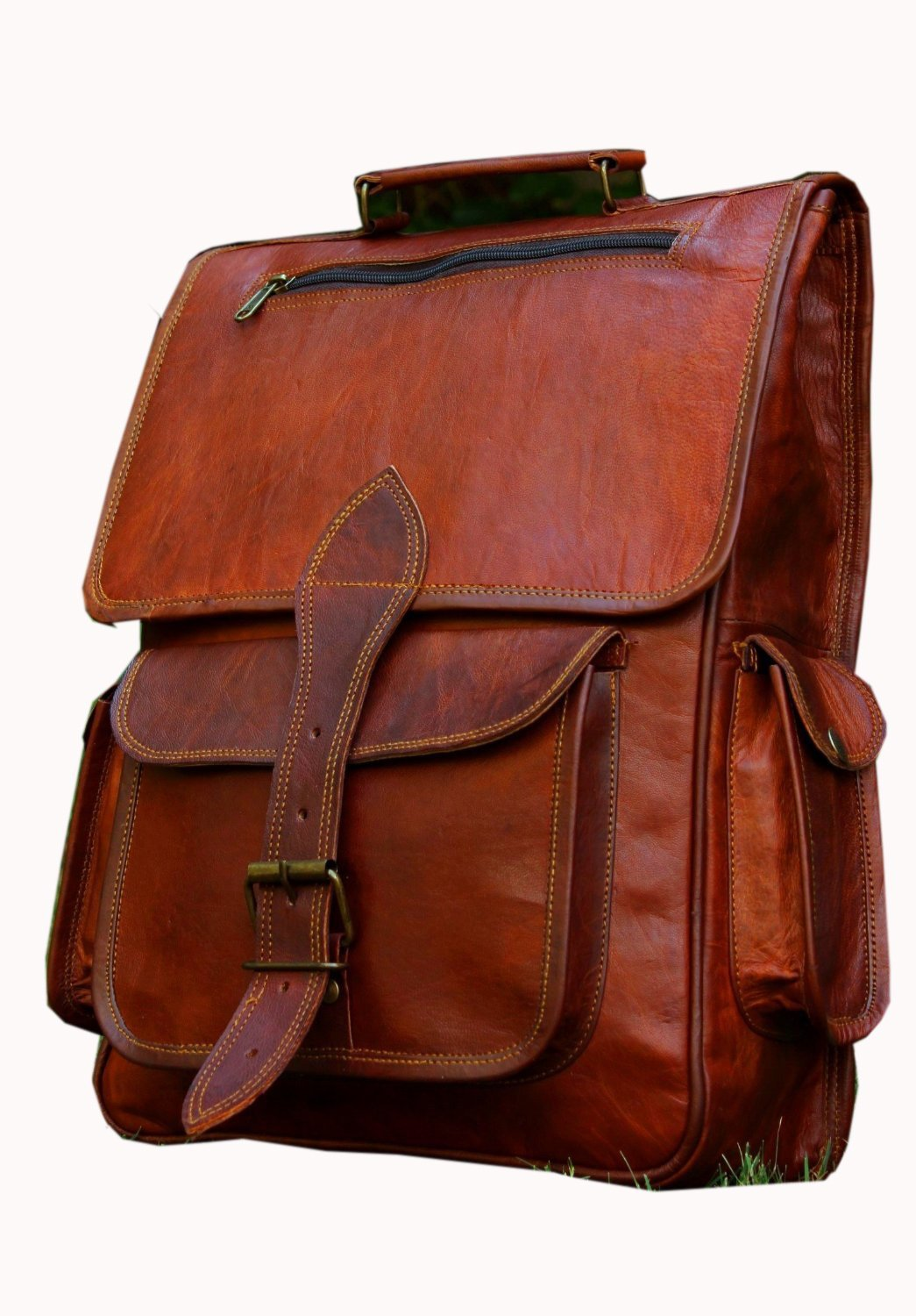 HLC Vintage Bag Leather Handmade Vintage Style Backpack/College Bag/ Picnic Bag
