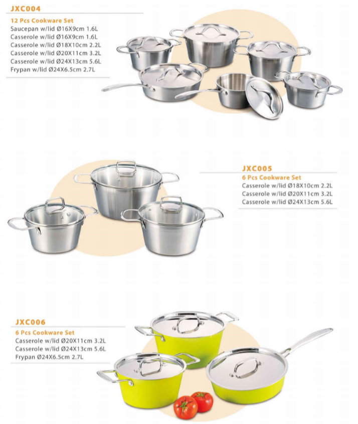 Tri-ply shining jacketed kettle stainless steel cookware sets 9pcs cookware