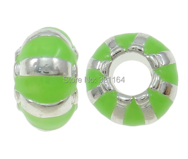 Free shipping!!!Zinc Alloy European Beads,ladies, Rondelle, silver color plated, without troll & enamel, green, nickel