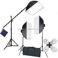 "E-Reise Studio 2400 Watt Large Photography Softbox Continuous Photo Light Kit 16"" x 24"" + Boom Arm Hairlight with"