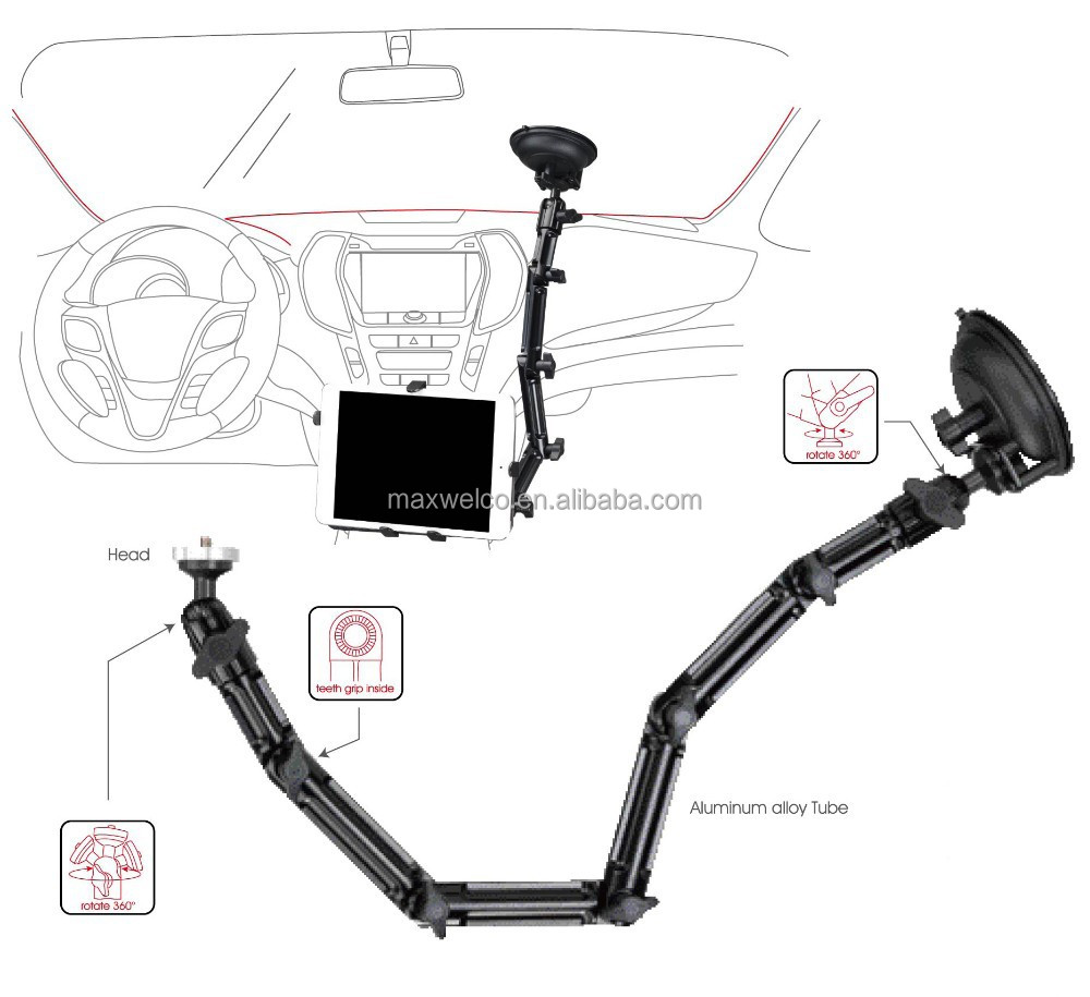 Multi-Function Tablet Stand Windshield Suction Mount
