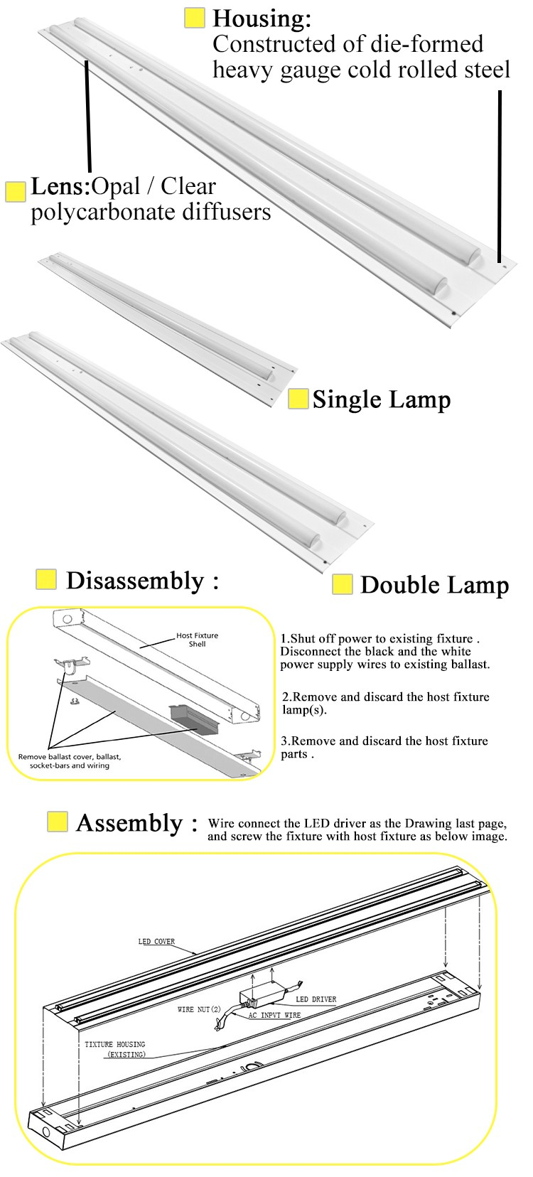 Government project single and double lamp led tube troffer retrofit kit light