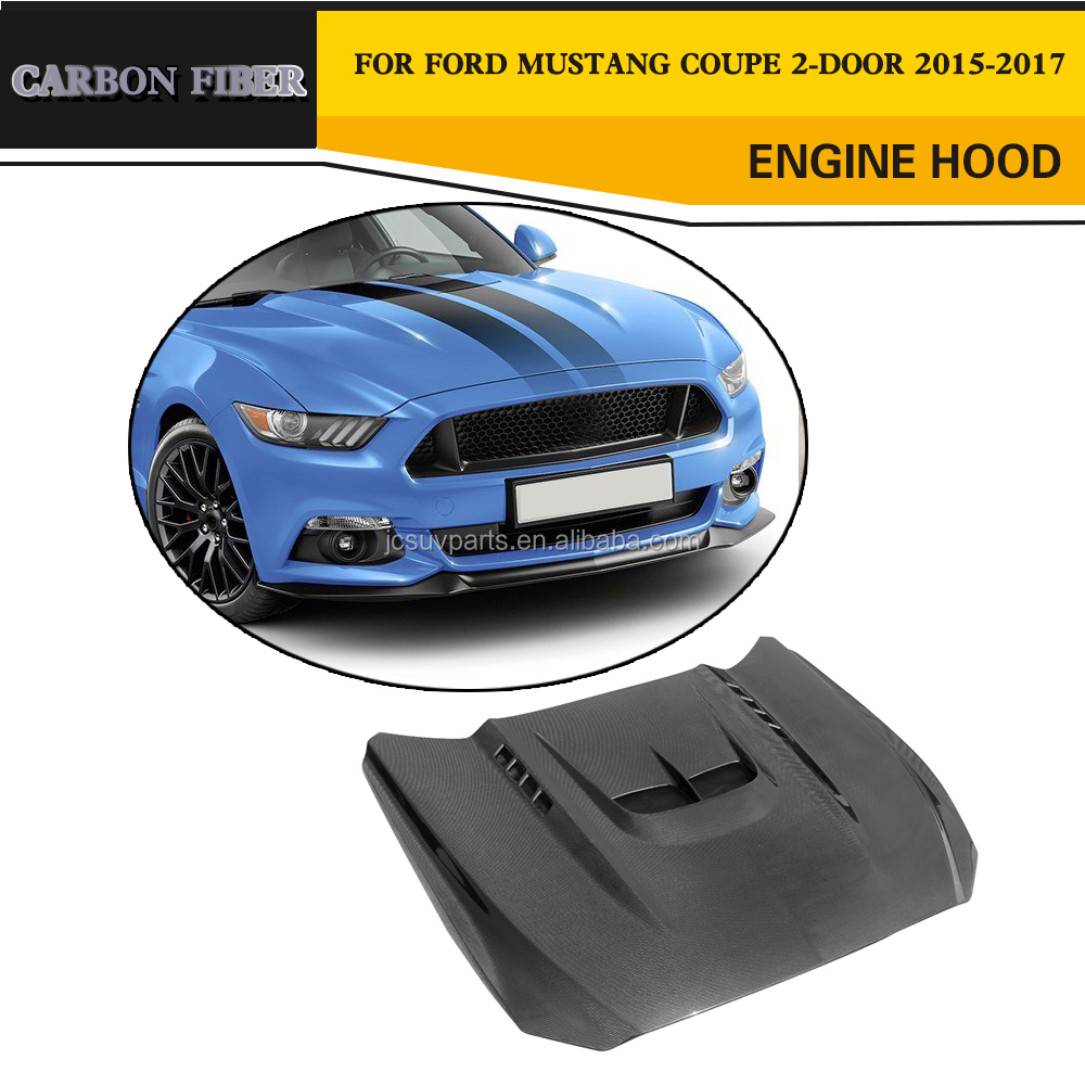 Carbon Fiber Body Kit Engine Hood with Scoop for Ford Mustang GT Coupe 2-Door 15-17