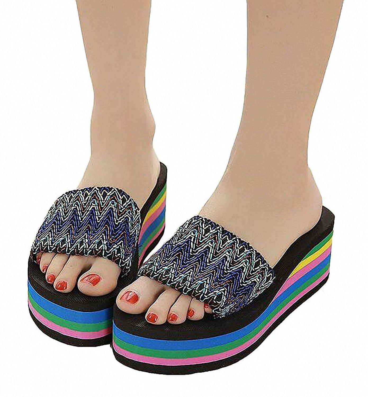 c23425bf05a0 Get Quotations · Platform Flip-flops,Women Hot Sale Platform Wedge Flip- flops Rainbow Thick-