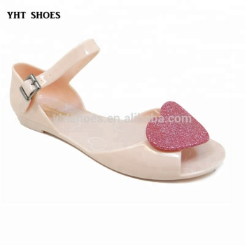 873e02050b2 China Girls lovely flat Sandals summer children heart cute PVC Jelly Shoes