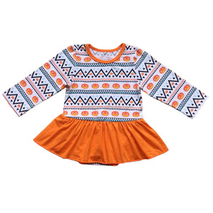 Posh design for cute and lovely baby girl pumpkin pattern cotton ruffle romper dress with cotton hem long sleeve for Halloween