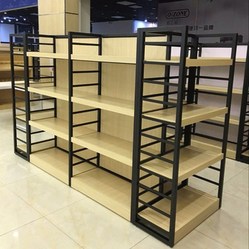 2017China grocery store shelf wooden display stand