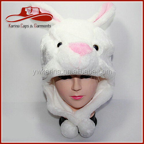 mooie cartoon dier hoed dames hoed mode winter warm pluche bunny oor cap hoofd