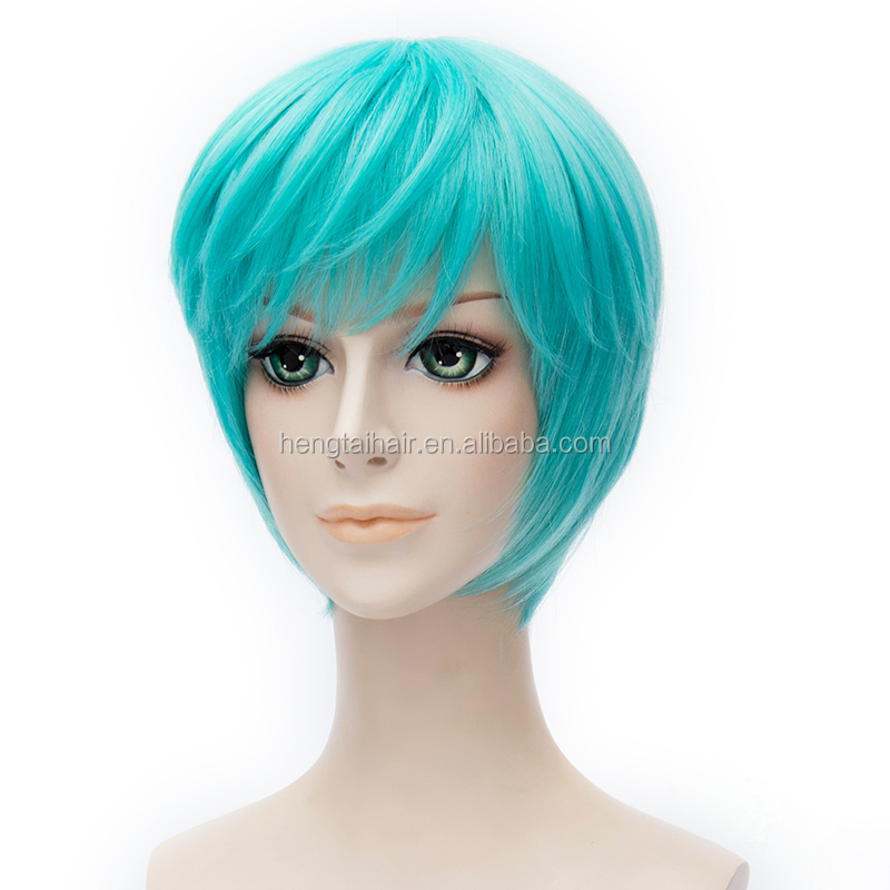 Game Cosplay Wig Costume Short Green Wig