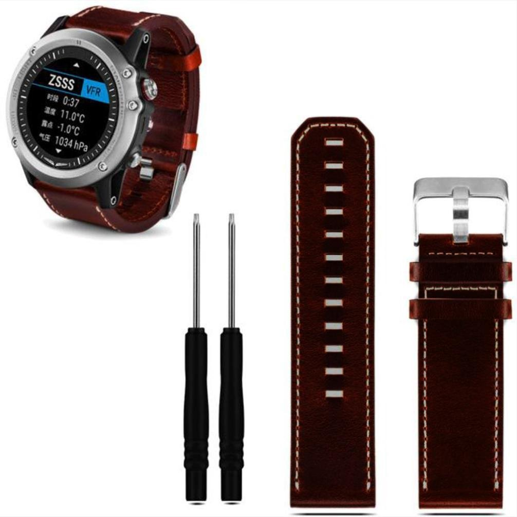 Voberry® Replacement Smartband Leather band for Garmin Fenix 3 (Brown)