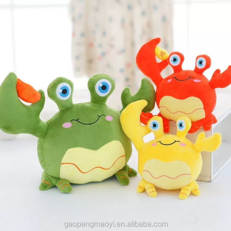 Best quality cartoon soft crab baby plush toys for kids creative plush material crab