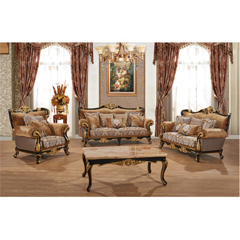 S1310 Foshan Shunde Furniture Factory antique Crafted Carving wood frame furniture fabric sofa set