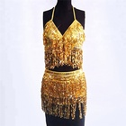 sexy club dress 2018 new design Nightclub sequin tassel crop top and skirt sets for sexy girls