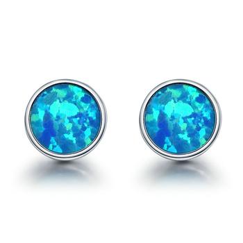 Round Blue Fire Opal Stone Stud Earrings Women 925 Sterling Silver Jewelry