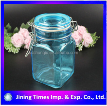 clorful square glass spice bottle with clip top blue color glass jar with clip top