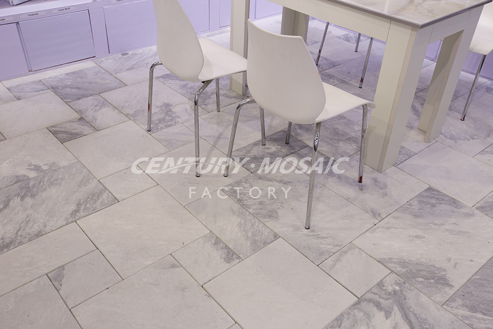 Sandblasted French Pattern Grey Marble Cheap Paving Stone