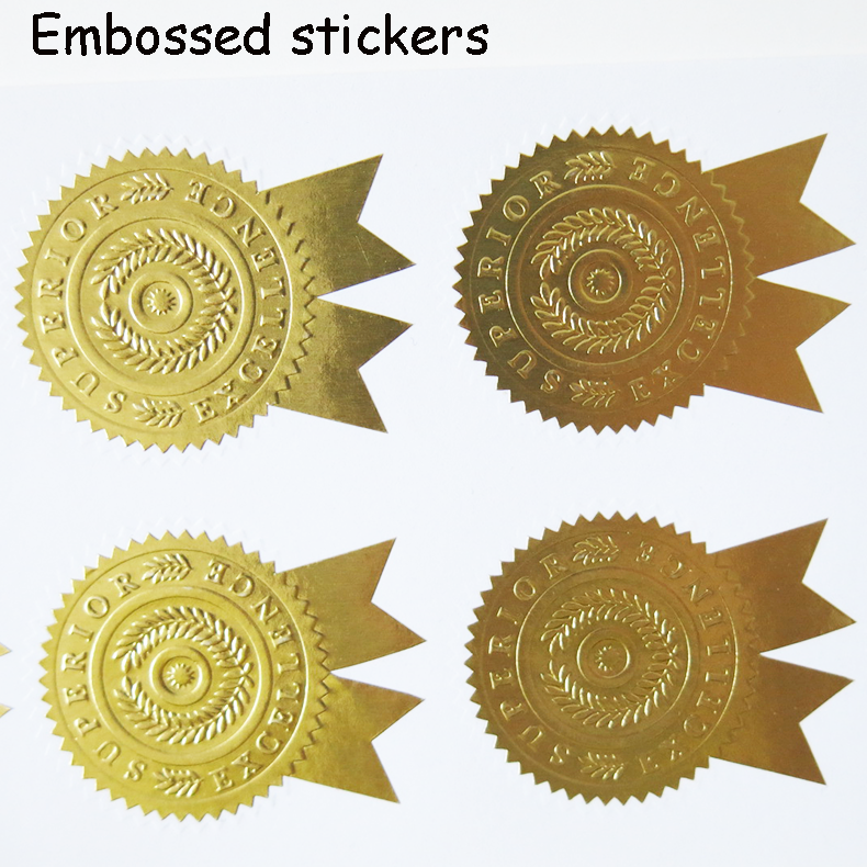 Custom Embossed Gold Foil Adhesive Sticker Business Labels - Custom gold foil stickers