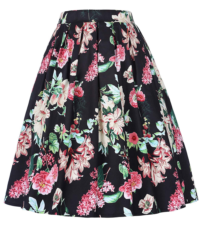 2b128b8ab397f Get Quotations · GRACE KARIN Women s Elastic Waist Pleated Vintage Skirts  CL10401