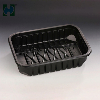 Black PP Disposable Supermarket Meat Trays