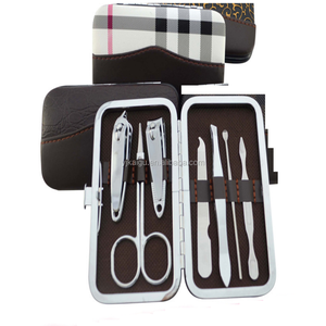 Travel Manicure Grooming Tool Kit Set,Leather Stainless Steel Manicure Pedicure Set