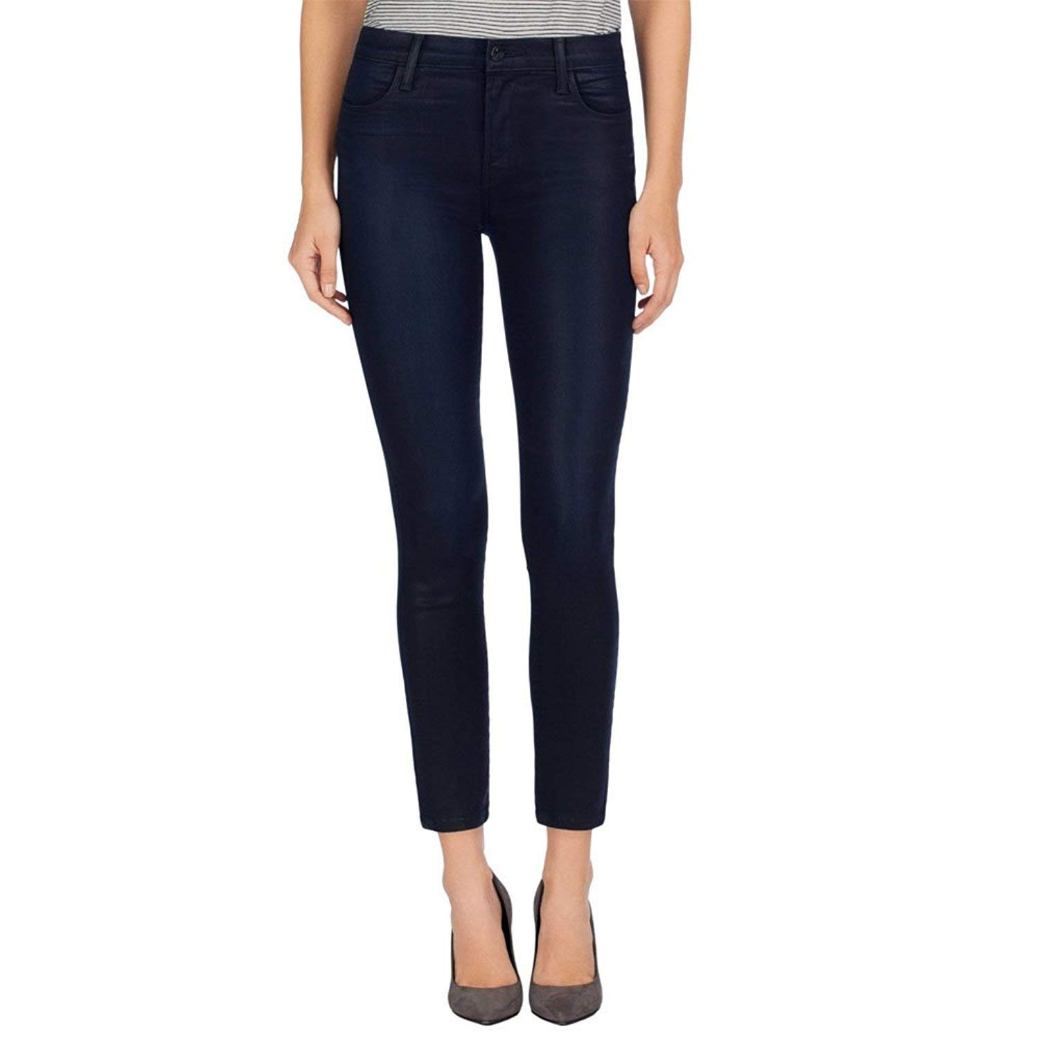 J Brand Women's Alana High-Rise Coated Super Skinny Jeans In Indigo Elixir Size 24